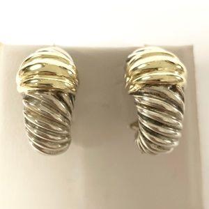 David Yurman Shrimp Earrings Silver & 14k Gold